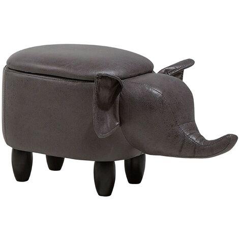 "main image of ""Modern Faux Leather Stool Storage Solid Wood Animal Dark Grey Elephant"""