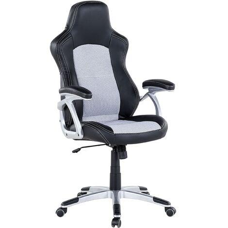 Modern Faux Leather Swivel Office Chair Black Grey Mesh Adjustable Castors Explorer