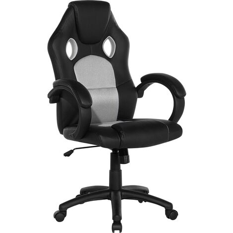 Modern Faux Leather Swivel Office Chair Grey Mesh Gaming Adjustable Rest