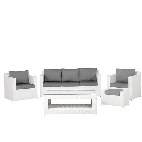 "main image of ""Modern Faux Rattan Outdoor Garden 5 Piece Conversation Sofa Set White Roma"""