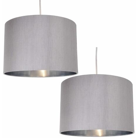 Modern Faux Silk 30cm Drum Ceiling Light Lamp Shade with Metallic Inner Lining