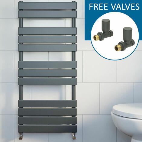 Modern Flat Panel Heated Towel Rail Radiator Anthracite 1200x500 Straight Valves