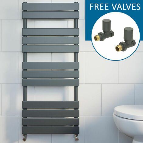 Modern Flat Panel Heated Towel Rail Radiator Anthracite 1200x600 Straight Valves