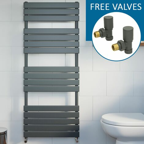 Modern Flat Panel Heated Towel Rail Radiator Anthracite 1600 x 600mm FREE Valves