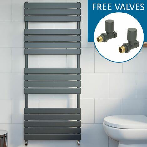 Modern Flat Panel Heated Towel Rail Radiator Anthracite 1600x600 Straight Valves