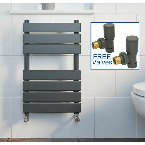 Modern Flat Panel Heated Towel Rail Radiator Anthracite 650x400 FREE Valves