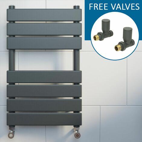 Modern Flat Panel Heated Towel Rail Radiator Anthracite 650x400 Straight Valves