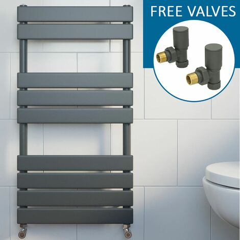 Modern Flat Panel Heated Towel Rail Radiator Anthracite 950 x 500mm FREE Valves