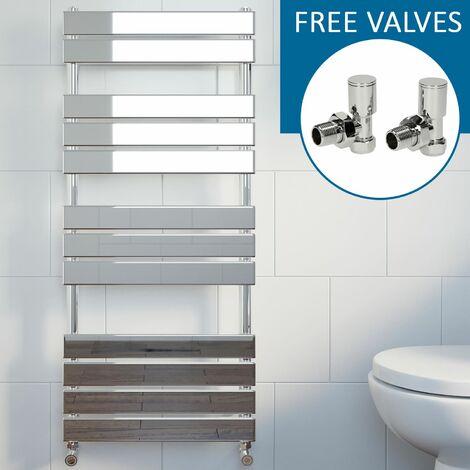Modern Flat Panel Heated Towel Rail Radiator Chrome 1200 x 500mm Angled Valves