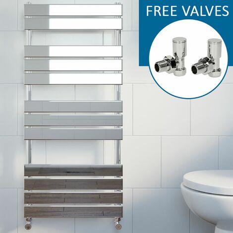 Modern Flat Panel Heated Towel Rail Radiator Chrome 1200 x 600mm Angled Valves
