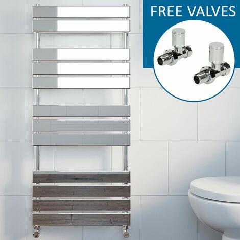 Modern Flat Panel Heated Towel Rail Radiator Chrome 1200x500mm Straight Valves