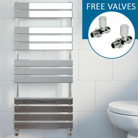 Modern Flat Panel Heated Towel Rail Radiator Chrome 1200x600mm Straight Valves