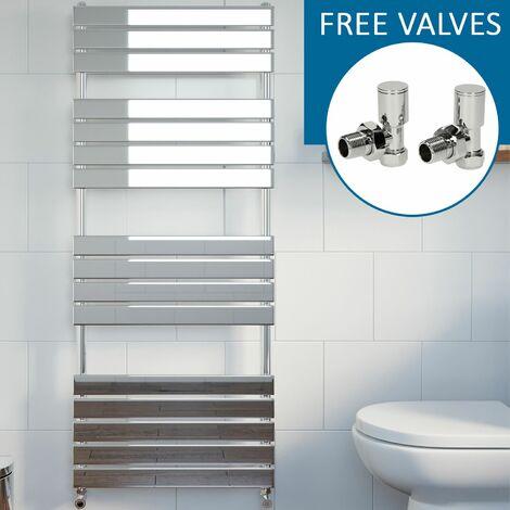 Modern Flat Panel Heated Towel Rail Radiator Chrome 1600 x 600mm Angled Valves