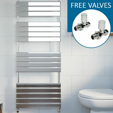 Modern Flat Panel Heated Towel Rail Radiator Chrome 1600x600mm Straight Valves