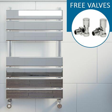 Modern Flat Panel Heated Towel Rail Radiator Chrome 650 x 400mm Angled Valves