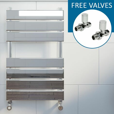 Modern Flat Panel Heated Towel Rail Radiator Chrome 650x400mm Straight Valves