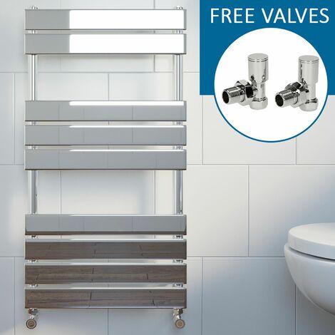 Modern Flat Panel Heated Towel Rail Radiator Chrome 950 x 500mm Angled Valves
