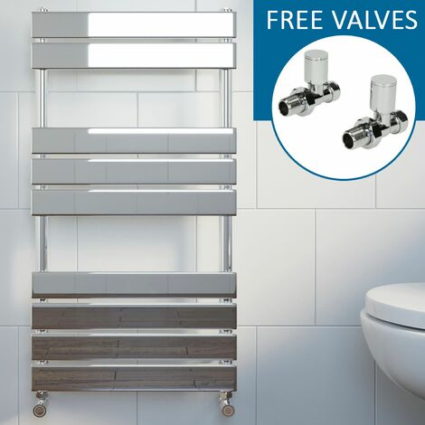 Modern Flat Panel Heated Towel Rail Radiator Chrome 950x500mm Straight Valves