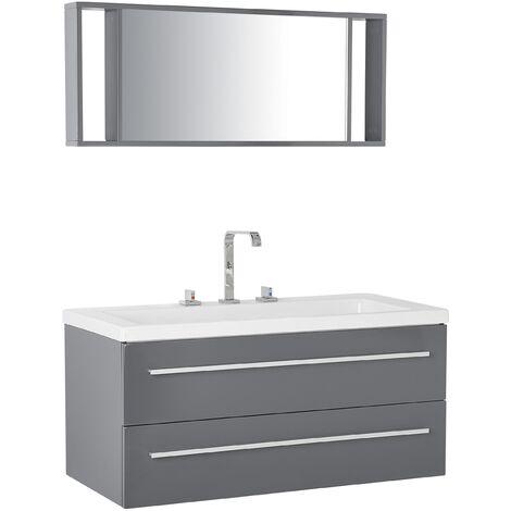 "main image of ""Modern Floating Bathroom Vanity Grey Storage Drawers Mirror White Basin Almeria"""