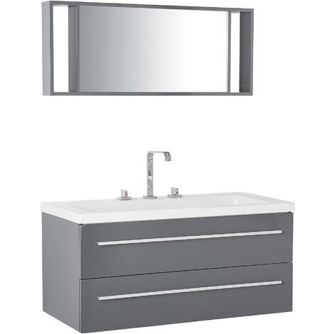 Modern Floating Bathroom Vanity Grey Storage Drawers Mirror White Basin Barcelona