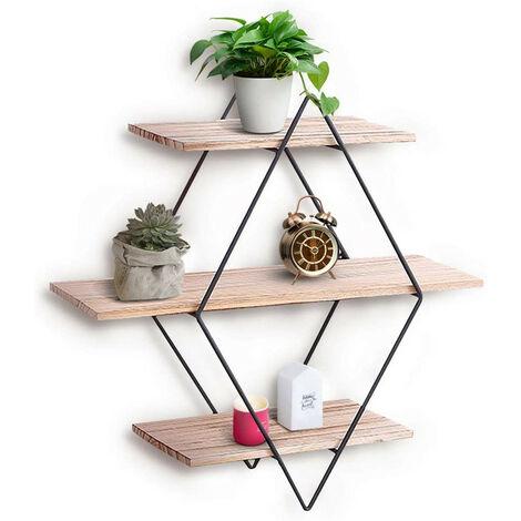 Modern Floating Shelves, Wood Wall Mounted Diamond Shape Storage Shelf, Display Picture Ledge