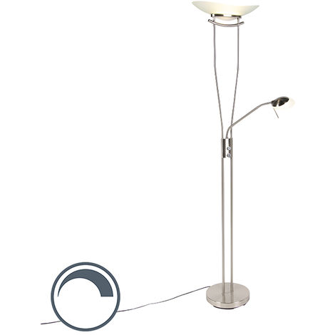 Modern floor lamp steel incl. LED and dimmer - Lexus