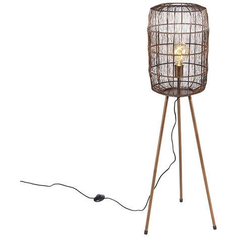 Modern floor lamp tripod copper - Redo