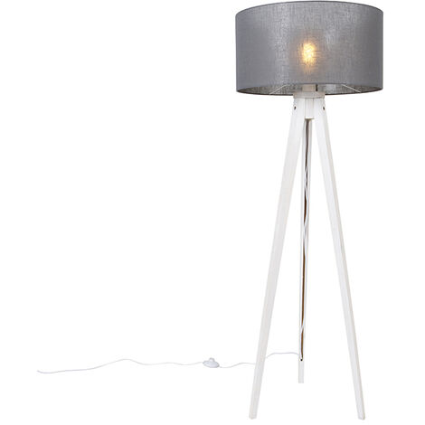 Modern floor lamp tripod white with gray shade 50 cm - Tripod Classic