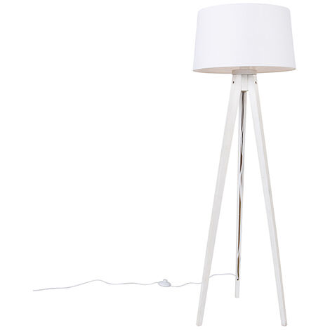 Modern floor lamp tripod white with linen shade white 45 cm - Tripod Classic