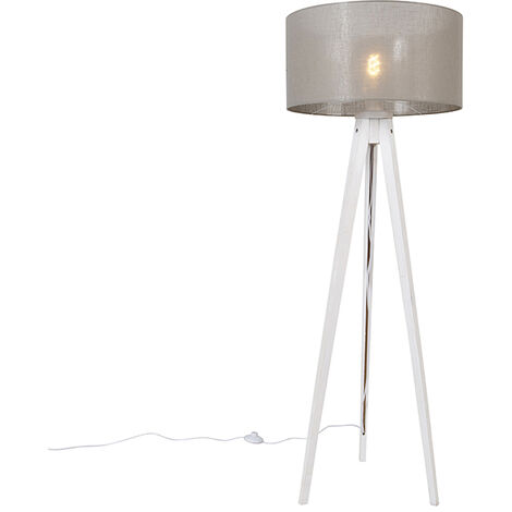 Modern floor lamp tripod white with shade taupe 50 cm - Tripod Classic