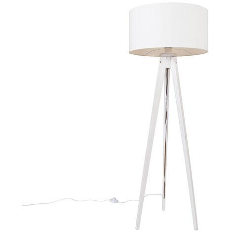 Modern floor lamp tripod white with white shade 50 cm - Tripod Classic