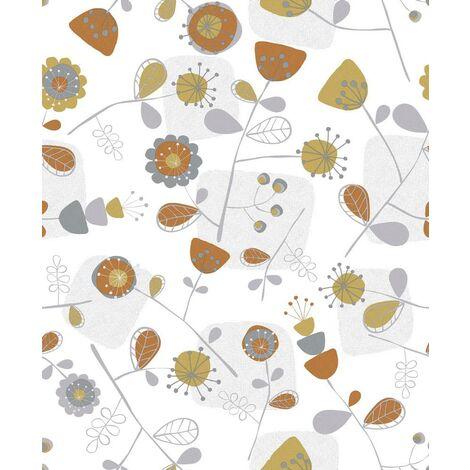 Modern Floral Grey Orange Yellow Leaf Textured Wallpaper Paste the Paper