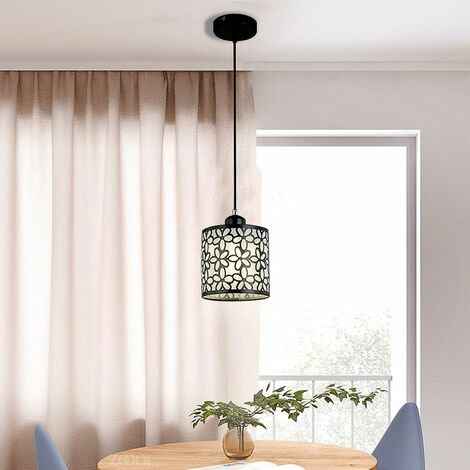 Modern Flower Petal LED Ceiling Light Pendant Lamp Dining Room Chandelier New # 1 Round Light (Black, Single Head)