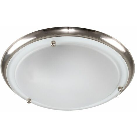 Modern Flush Ceiling Light With A Frosted Glass Shade