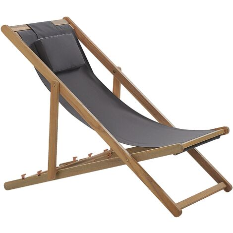 "main image of ""Modern Folding Wooden Deck Chair Reclining Sun Lounger Plush Head Cushion Grey Avellino"""