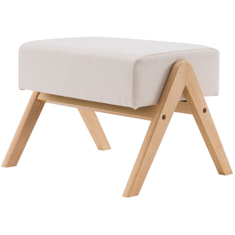 """main image of """"Modern Footstools Ottoman Fabric Small Footrest Seat with Wooden Legs for Living Room Bedroom Hallway (Beige)"""""""