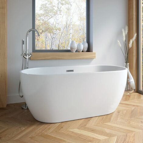 Modern Freestanding Bath Double Ended Overflow Waste White Acrylic Luxury 1500mm