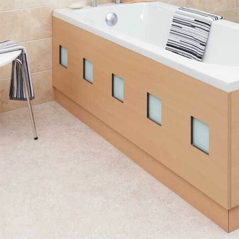 Modern Frosted Square Beech Bath Front Side Panel 1700mm MDF