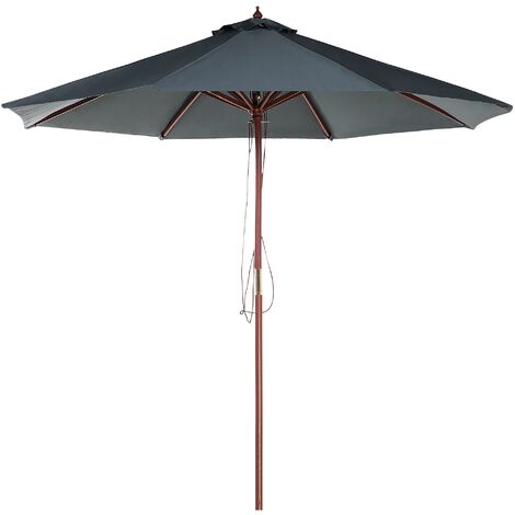 Modern Garden Parasol Dark Grey Polyester Solid Wood Pole String Mechanism Toscana II
