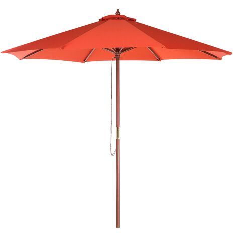 Modern Garden Parasol Red Polyester Solid Wood Pole String Mechanism Toscana II
