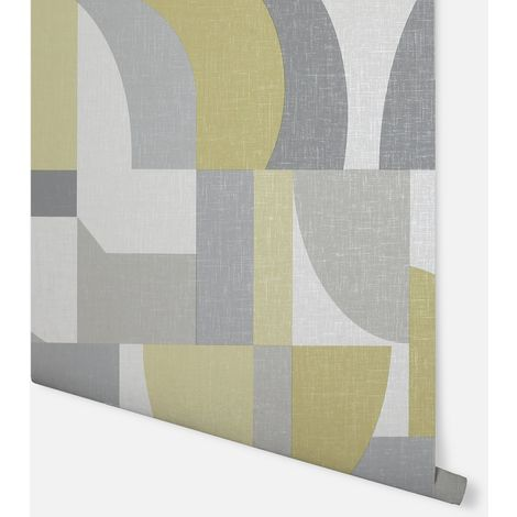"main image of ""Modern Geo Ochre & Grey Wallpaper - Arthouse - 697806"""