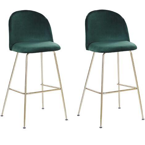 Modern Glam Bar Dining Chairs Set Upholstered Velvet Seat Steel Base Green Arcola