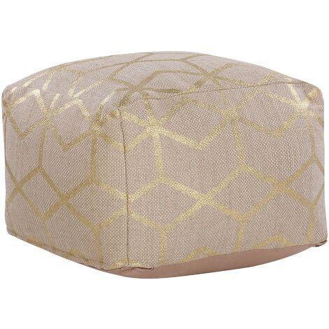 Modern Glam Pouffe Jute Square Ottoman 56 x 56 cm Footstool Beige Mamala