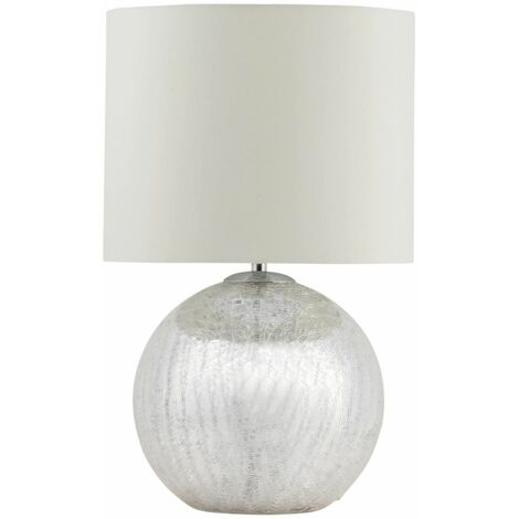 Modern Glam Silver Metallic Crackle Glass Table Lamp Bedside Light Cream Shade