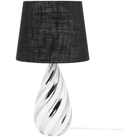 Modern Glam Table Bedside Lamp Light Metallic Silver with Black Visela