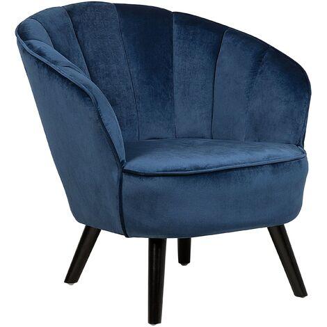 Modern Glam Velvet Armchair Shell Back Tufted Dark Blue Dala