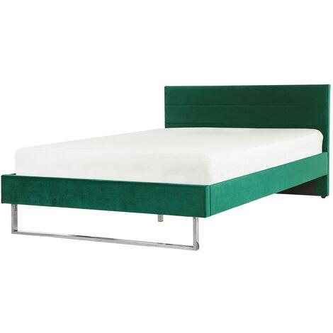 Modern Glam Velvet Fabric EU Double Bed Frame 4ft6 Upholstered Green Bellou