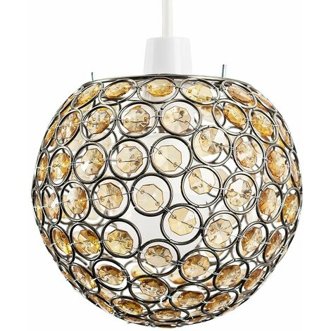 Modern Globe Ceiling Light Shade With Acrylic Crystal Jewels - Amber