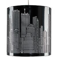 Modern Gloss Black New York Skyline Ceiling Pendant Shade