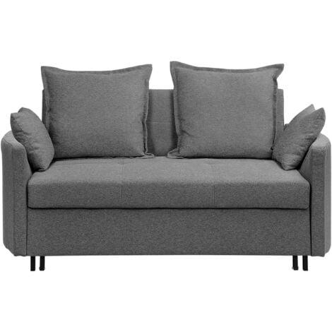 Modern Grey 2 Seater Sofa Bed Sleeping Function Profiled Armrests Hovin